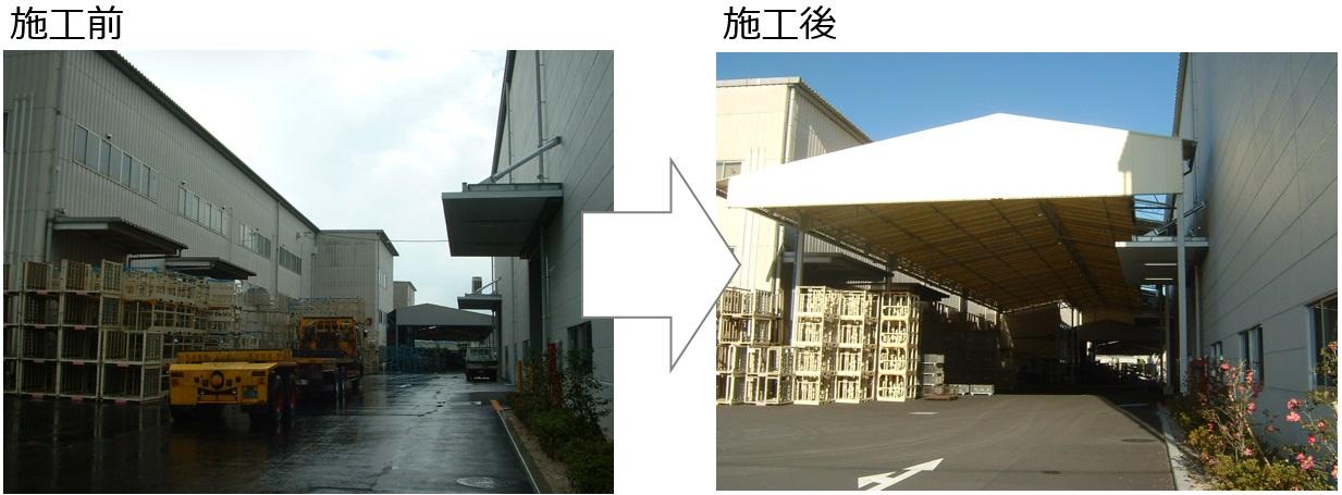 クラタコーポレーション事例の工場テント新設工事